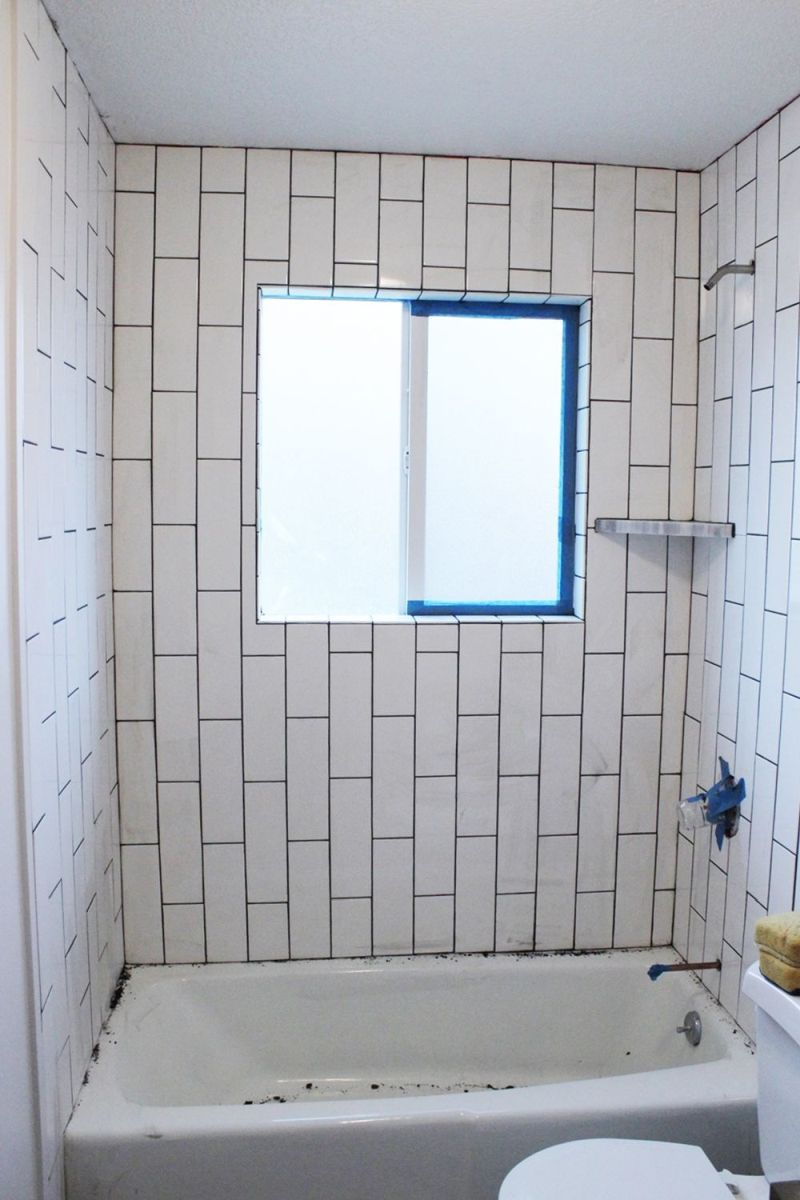 How to tile a shower tub surround part 2 grouting sealing and diy grout shower tub surround tape doublecrazyfo Image collections