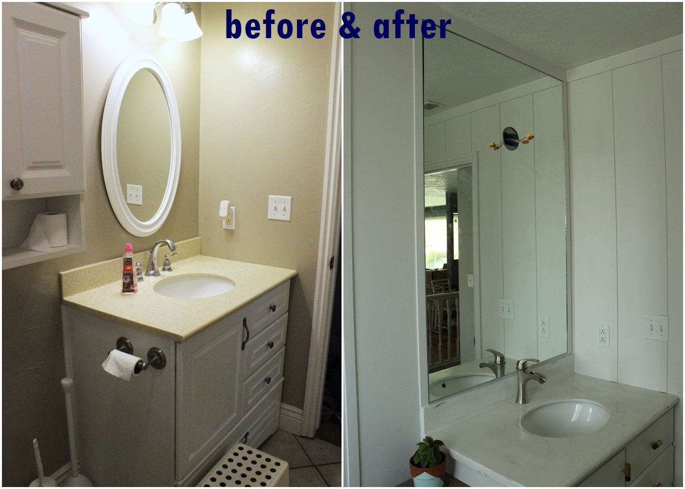 To professionally install a bathroom mirror diy prof install mirror before and after arubaitofo Choice Image