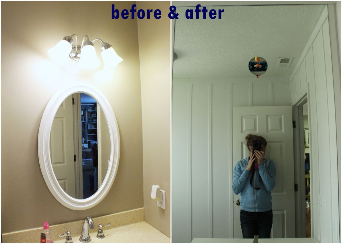 How to professionally install a bathroom mirror diy prof install mirror before and after amipublicfo Gallery