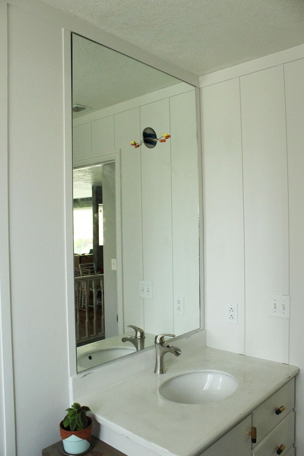 with and wainscoting sink bathroom for creamics design panels beadboard walls mirror