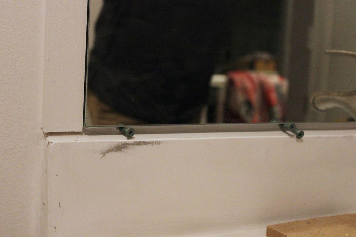 DIY Prof Install Mirror- more mastic