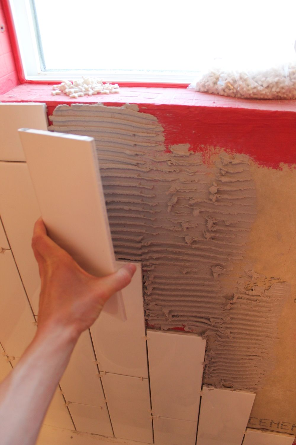 DIY Tile Shower Tub Surround- spacers