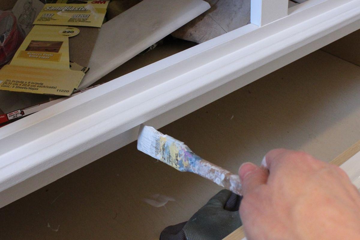 DIY Upgrade Bathroom Vanity-back surface paint