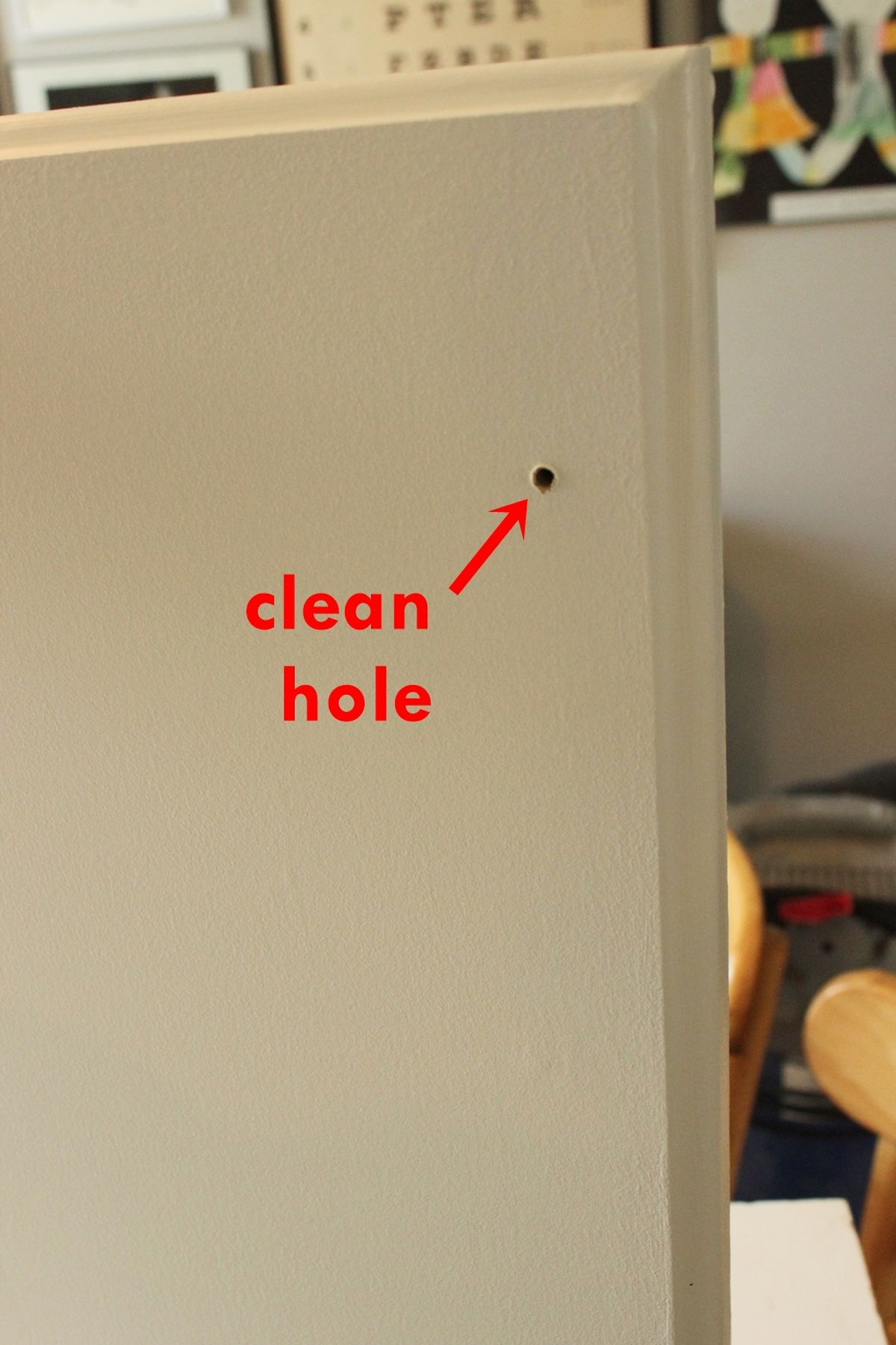 DIY Upgrade Bathroom Vanity- clean hole
