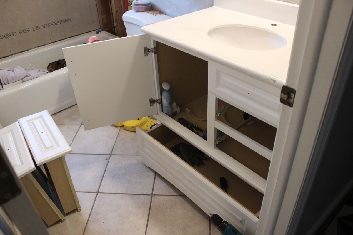 DIY Upgrade Bathroom Vanity-remove all possible drawers