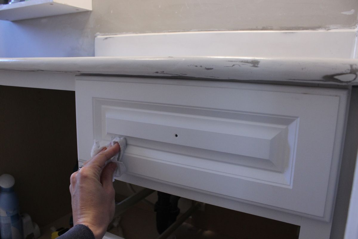 DIY Upgrade Bathroom Vanity-wipe all surfaces