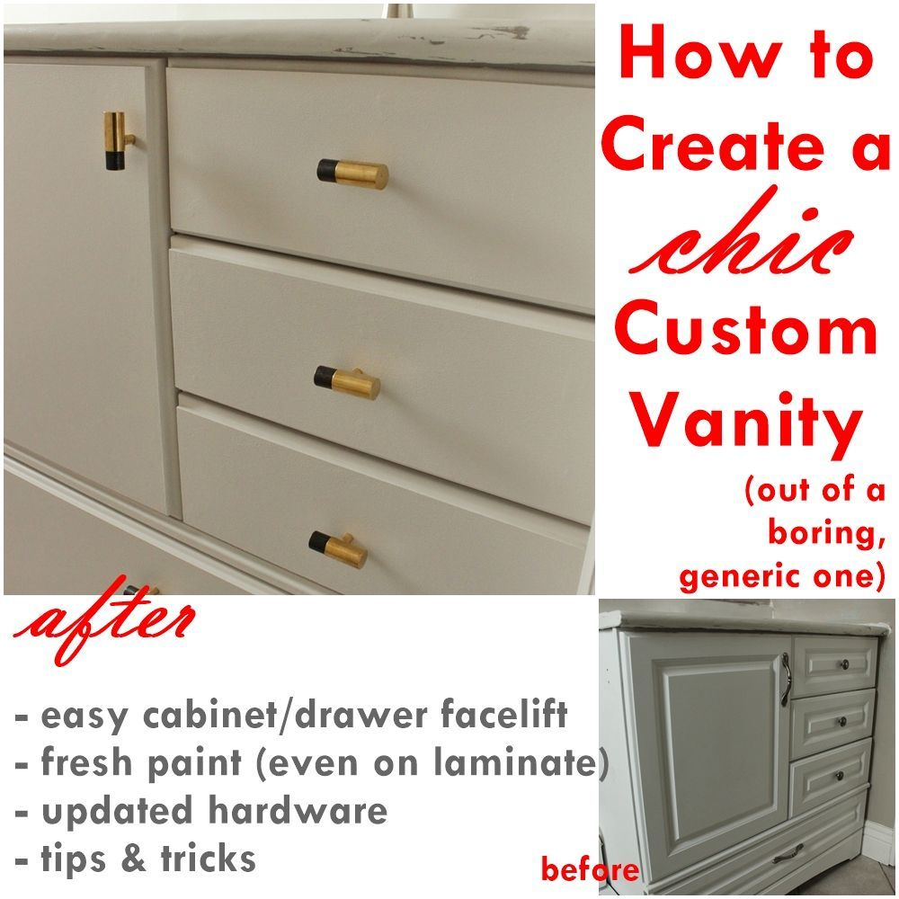 Custom Bathroom Vanities With Drawers how to turn a builder-grade vanity into a custom and chic piece