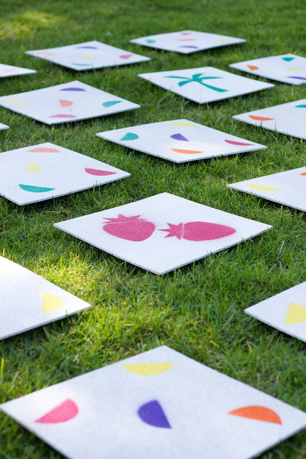DIY backyard matching game