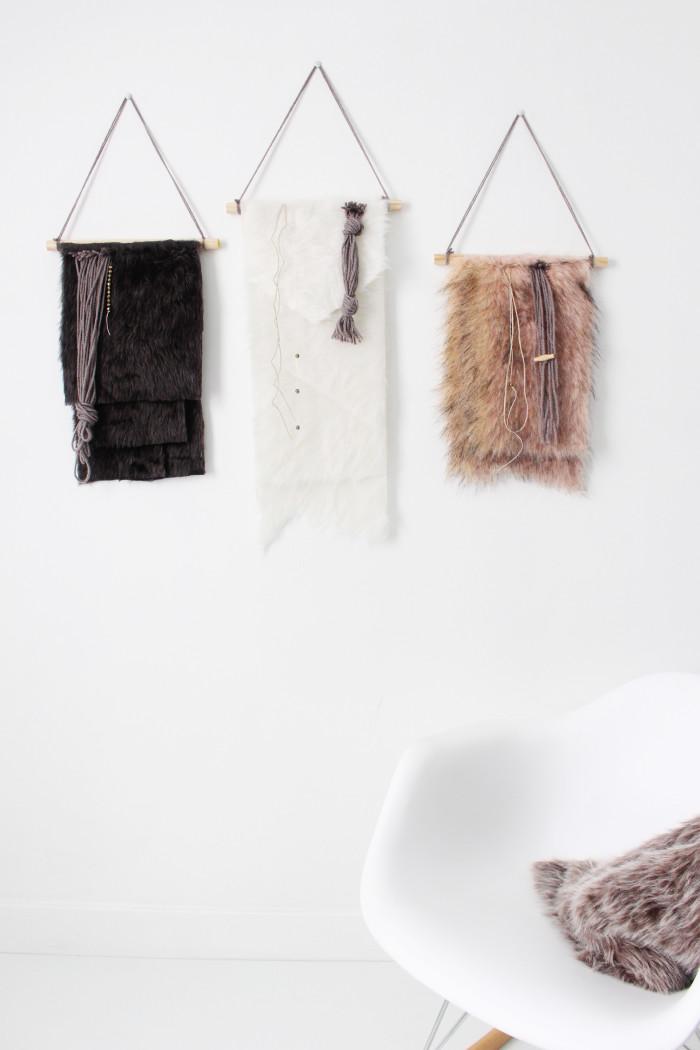 DIY fur wall hanging