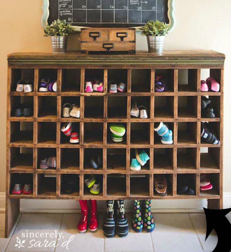 DIY shoe cubby storage