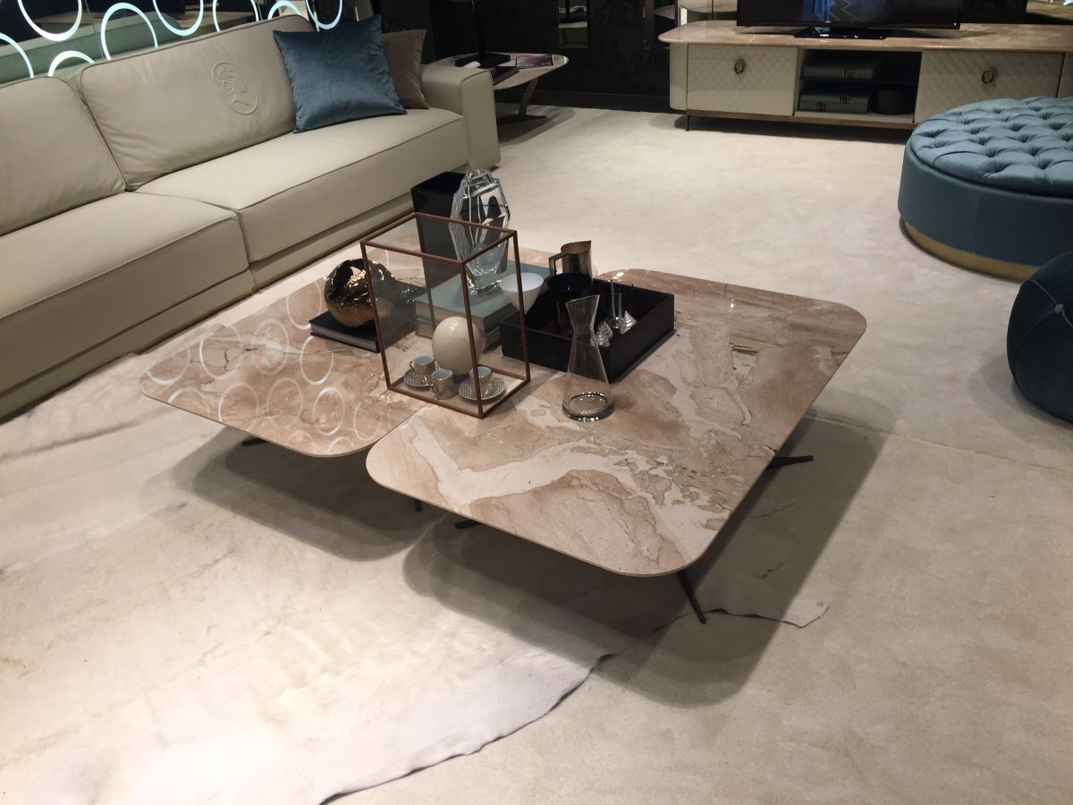 Double marble rectangular coffee table