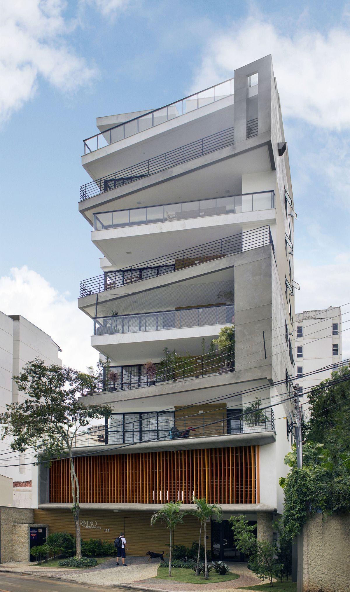 Stylish balconies become integral parts of their building for Fachadas de apartamentos modernas