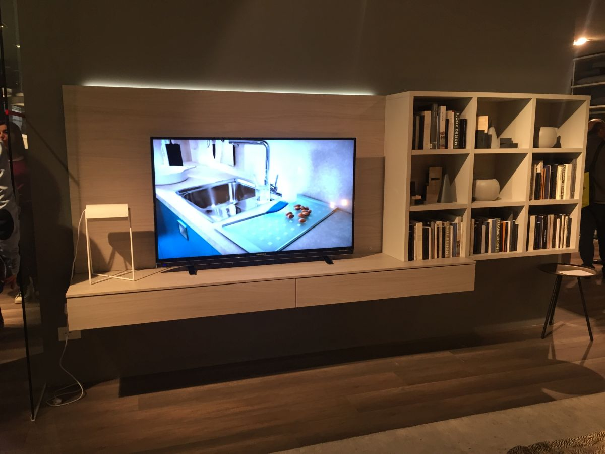 Floating Media Console With Open Shelves
