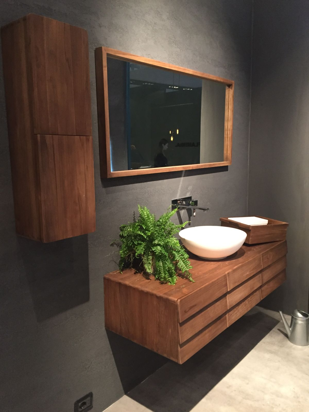 Wood Bathroom Cabinet - Floating wood vanity with a mid century flair