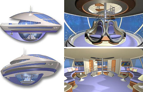 Futuristic Floating Home interior