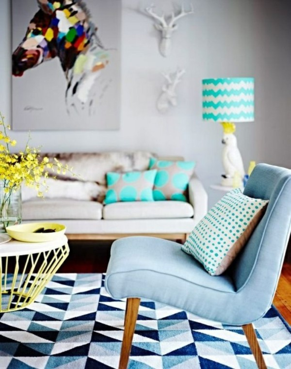 Geometric chevron rug