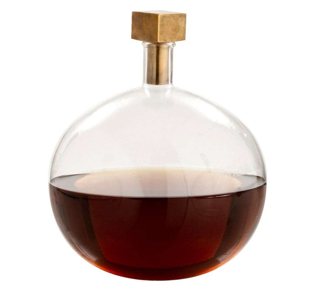 Glass brass decanter