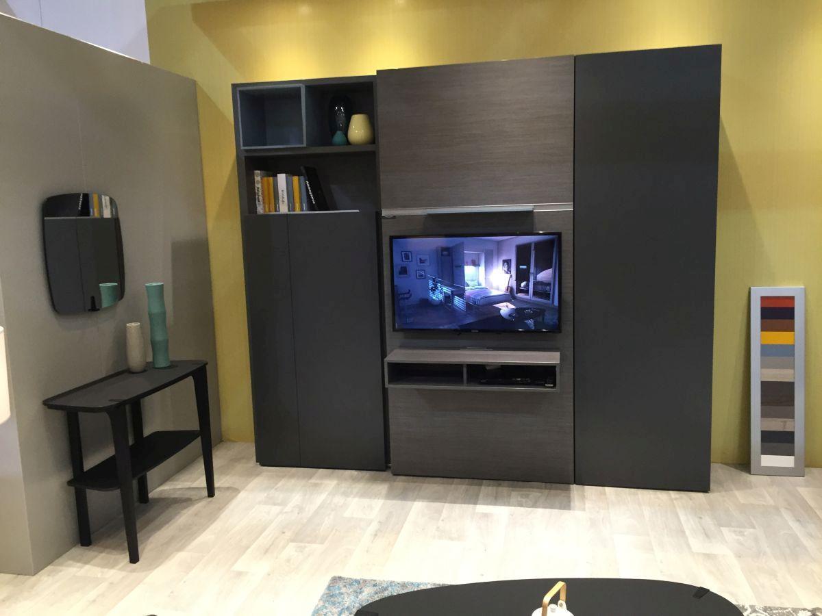 Grey floor to ceiling TV unit