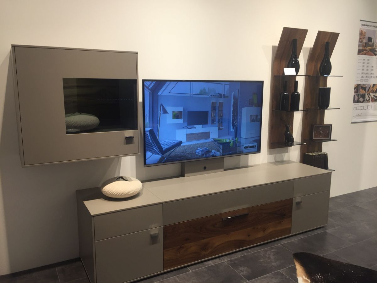 Grey lacquered console with wood accents and shelves for wine