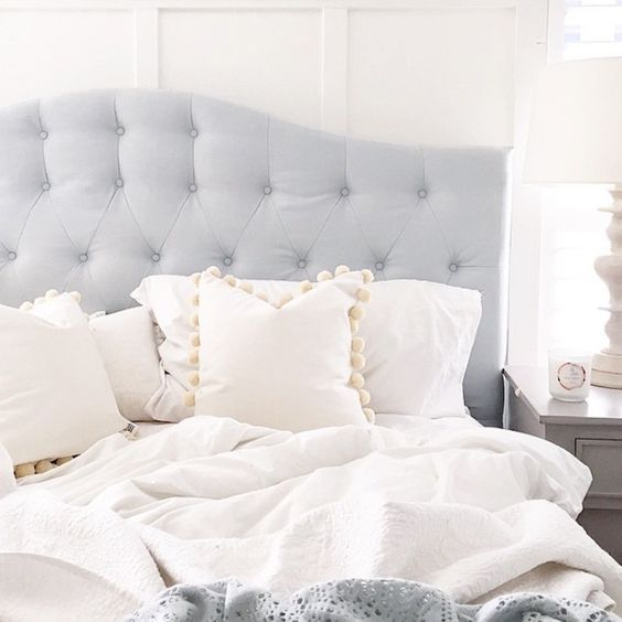 Grey tucked headboard