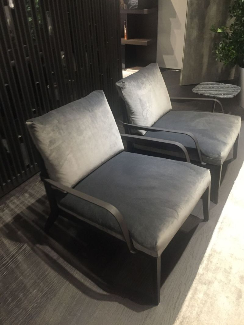 Grey velvet low chairs
