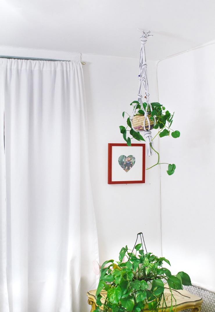 Hanging planter from an old t shirt