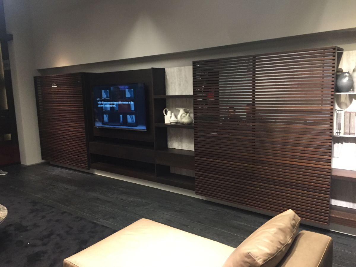 Hide TV behind sliding wall