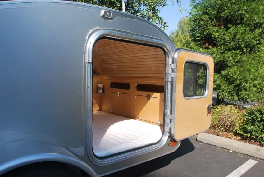 High camp teardrop trailer door
