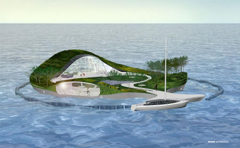 Island-Shaped Floating Home Design