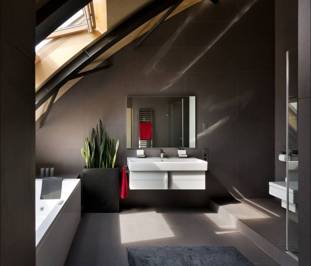Kiev loft renovation bathroom colors