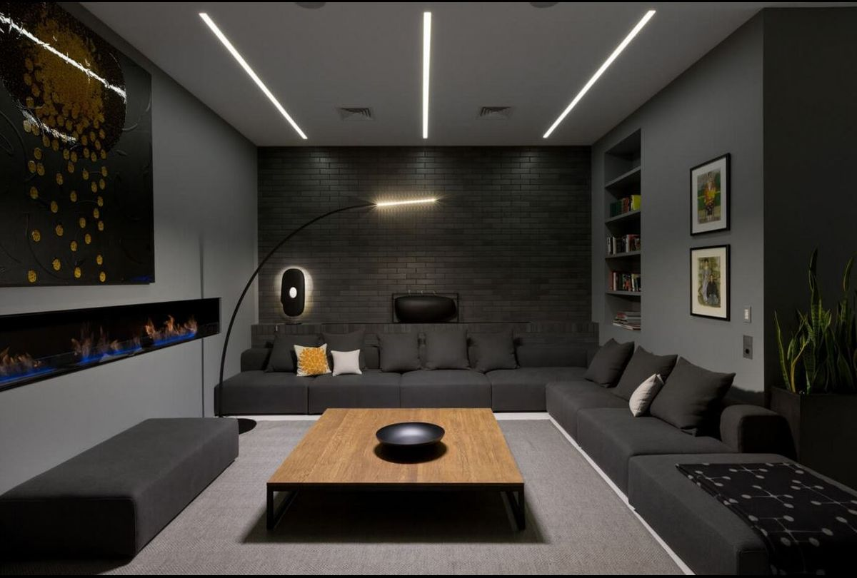 Kiev loft renovation lounge area brick wall