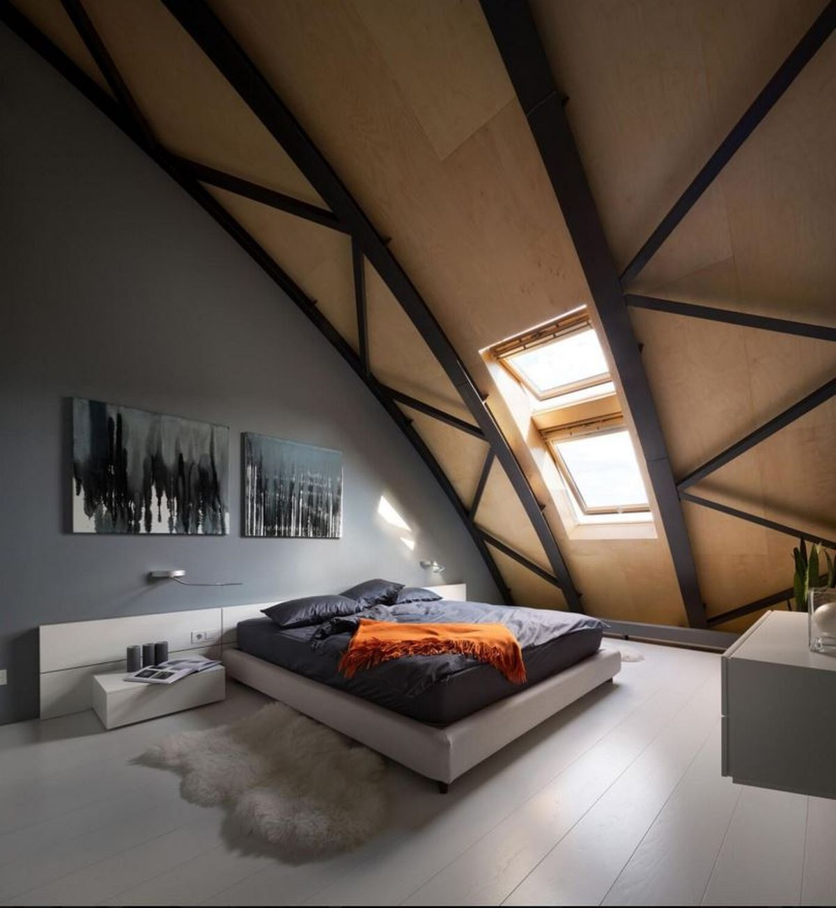 Kiev loft renovation sleeping area