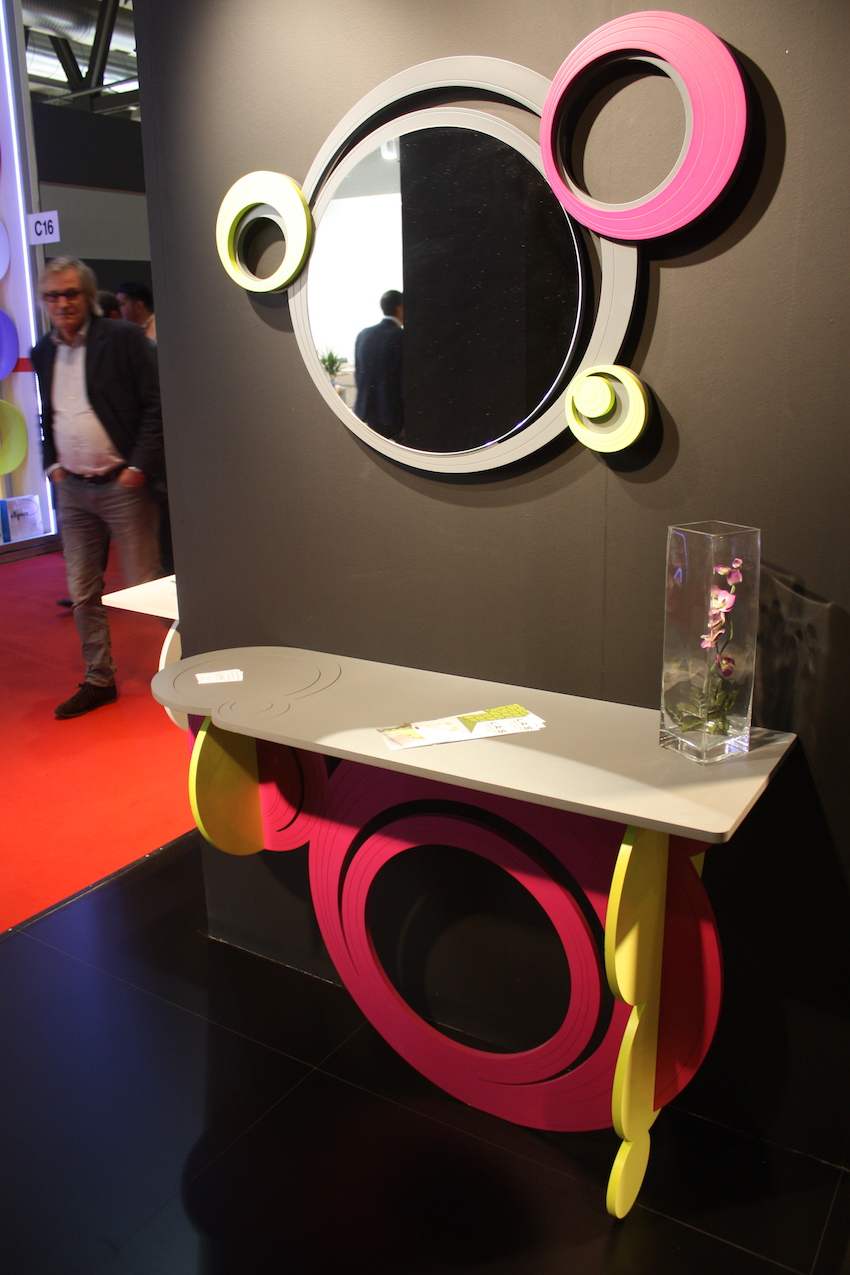 Laser art console mirror