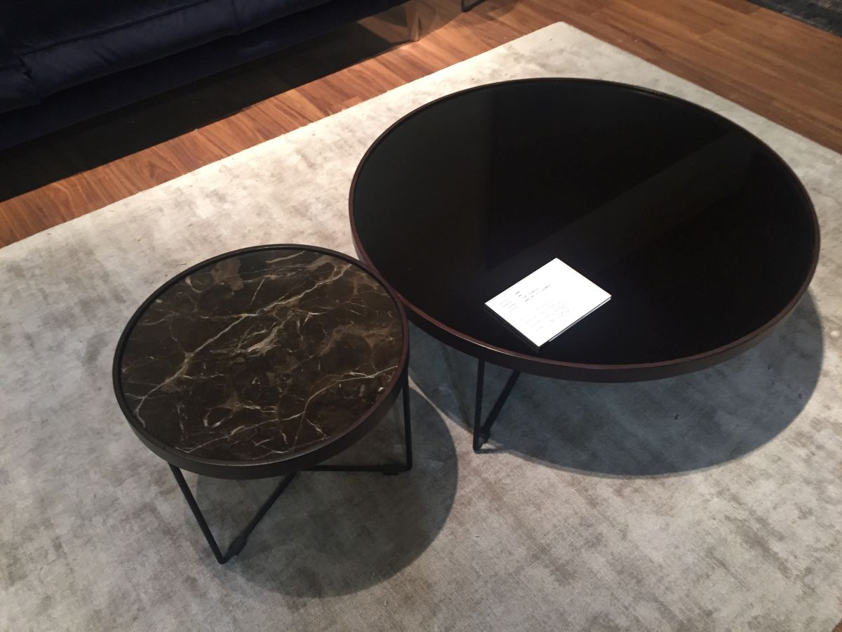 Laquared and marble Natuzzi coffee tables