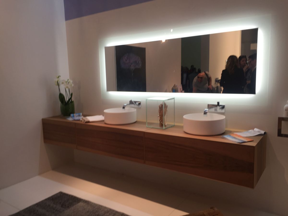 Large and long bathroom vanity and mirror with light