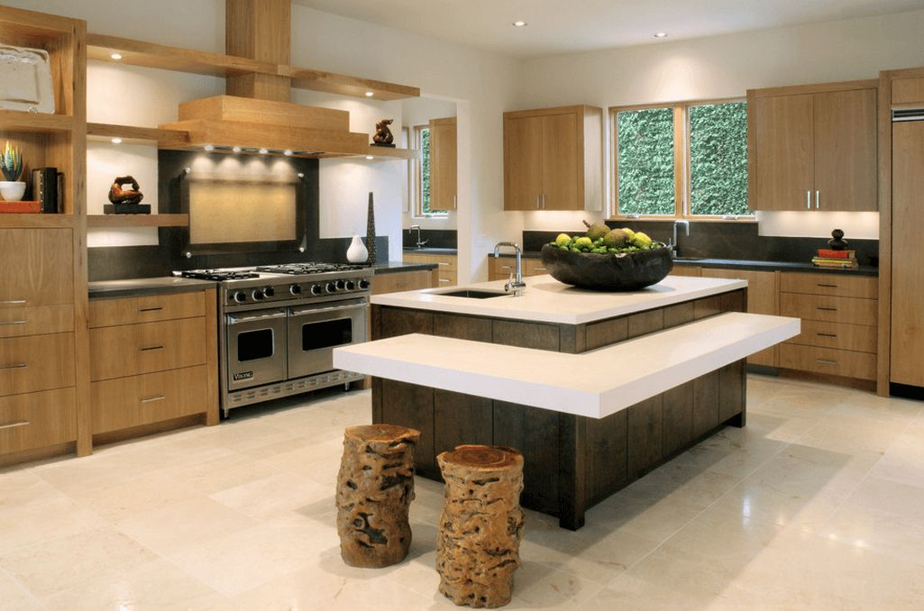 Layered kitchen island