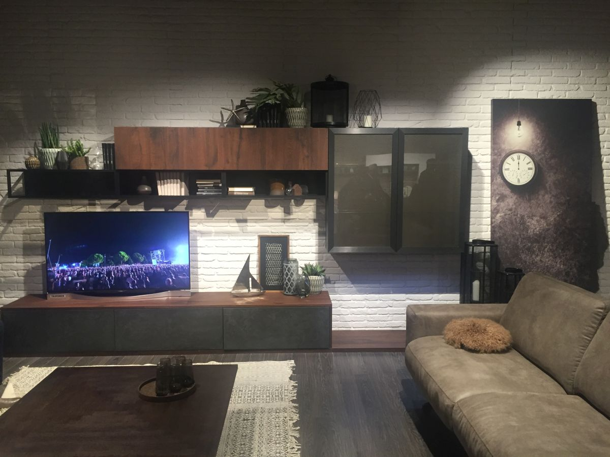 Living room media wall unit decorated with green plants