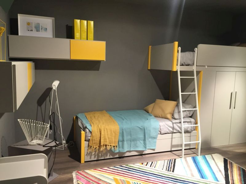 Loft bed system with yellow accents