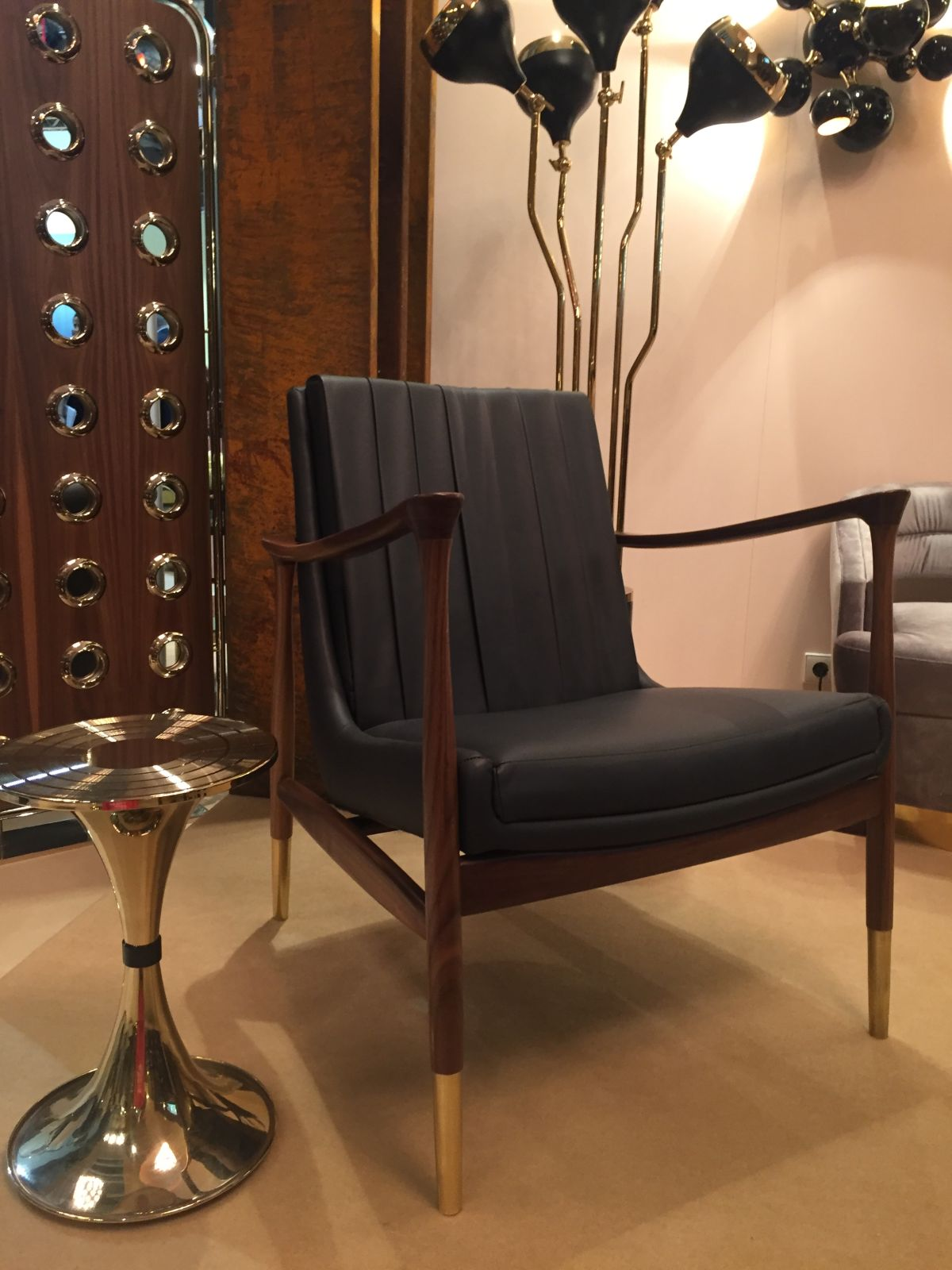 Mid-century inspired furniture with gold legs