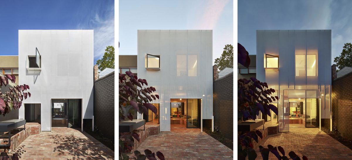Mills House perforated metal facade trio