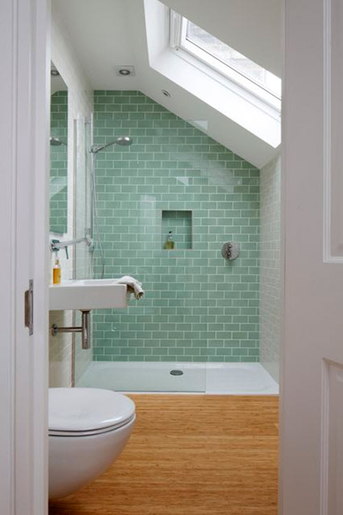40 Beautiful Pieces Of Mint Green Home Decor - Sea-green-bathroom-tiles