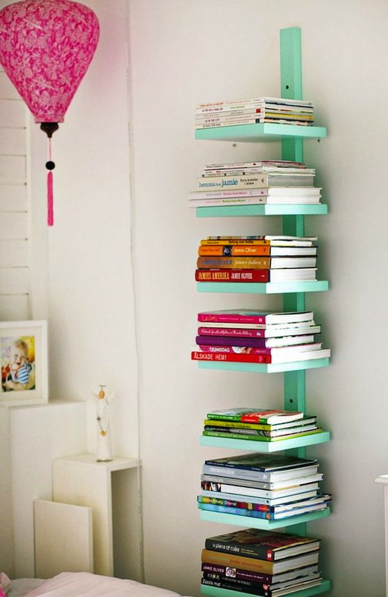 Mint floating bookshelf