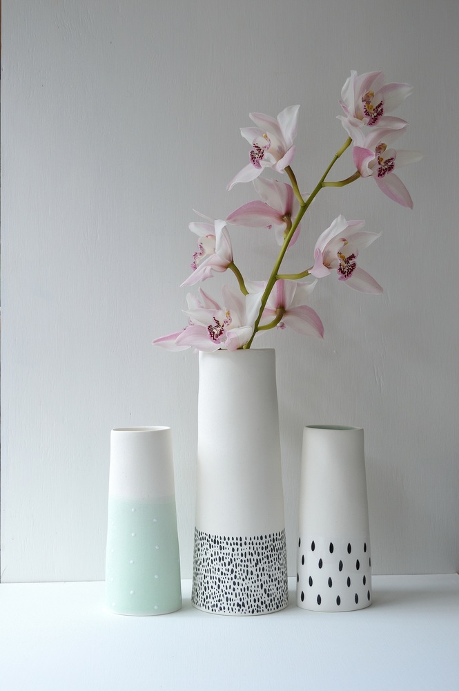 Mint flower vases
