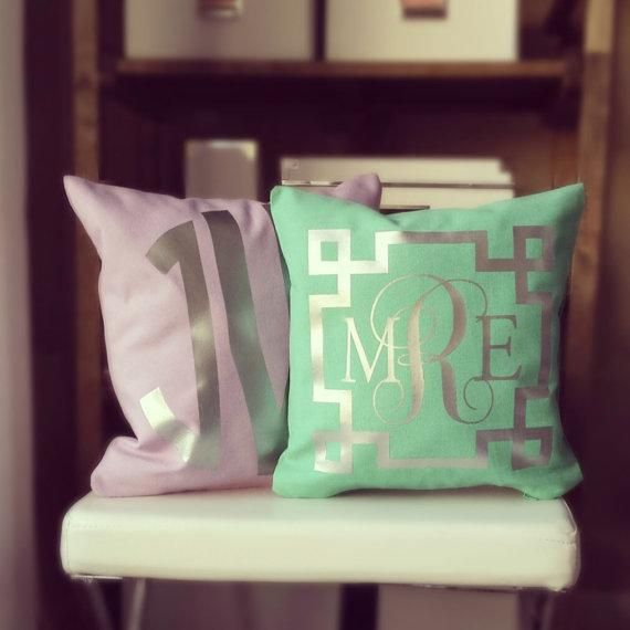 Mint throw pillows