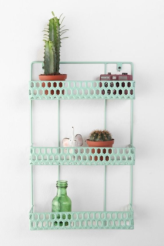 Mint wall shelves