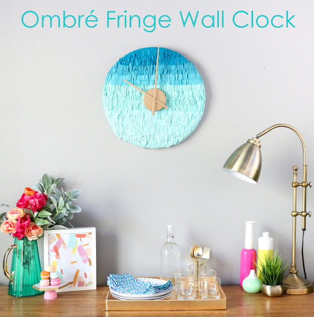 Ombré Fringe Wall Clock