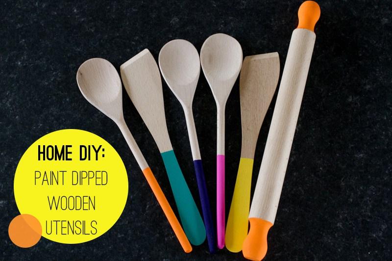 Paint dipped wooden utensils
