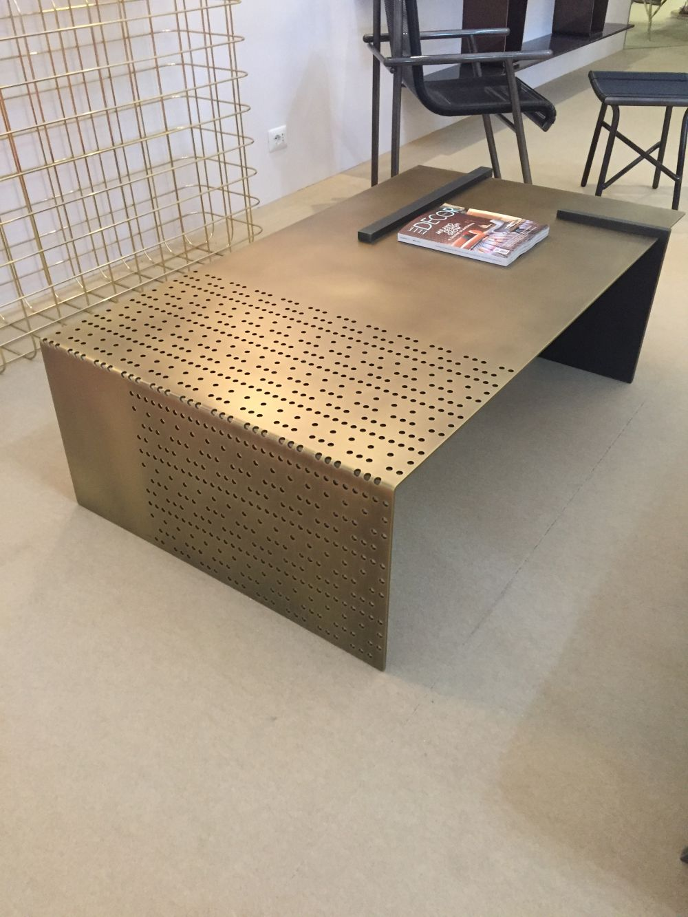 Perforated metalic rectangular coffee table