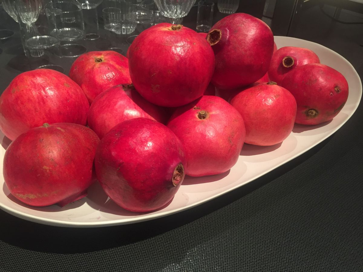 Pomegranate on a plate to add a touch of color