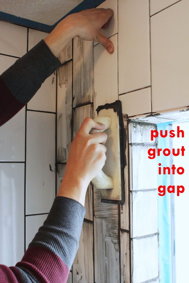 Push grout into the spaces